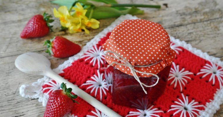 strawberry sauce in a jar