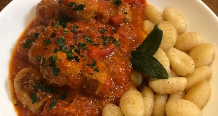 Crispy Gnocchi with Sausage Meatballs Recipe With Red Wine
