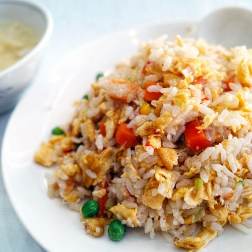 Southeast asian fried rice with chicken